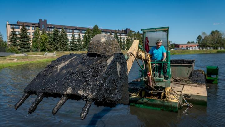 В Челябинске на дне пруда за ТРК «Алмаз» нашли военные каски и снаряды