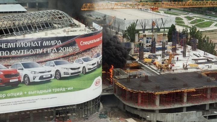 В Волгограде произошел пожар в недостроенной гостинице на Предмостной