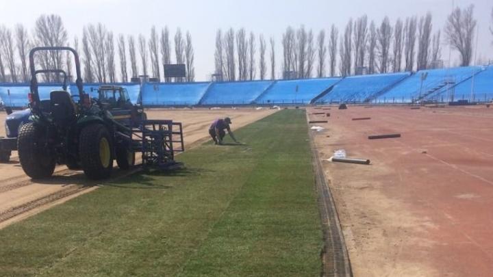 На стадионе «Торпедо» укладывают газон для тренировок сборной Швейцарии во время ЧМ