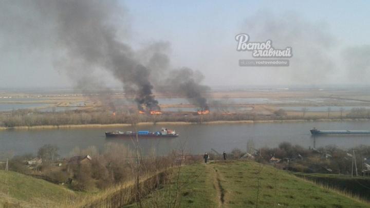 Видно даже в Ростове: в Аксайском районе пылает камыш