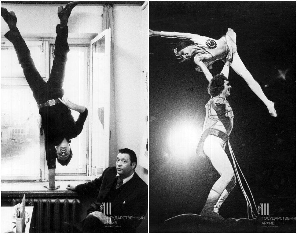 Слева – артист цирка Короткин, 1983 год. Справа – участники Всесоюзного конкурса на манеже цирка в Перми, 1982 год