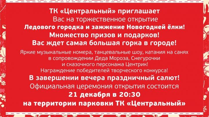 Уфимцы увидят салют на открытии ледового городка ТК «Центральный»