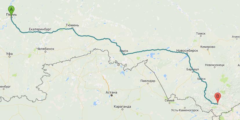 Вот так выглядит маршрут путешествия, в которое Елизавета отправилась одна, захватив палатку и спальник