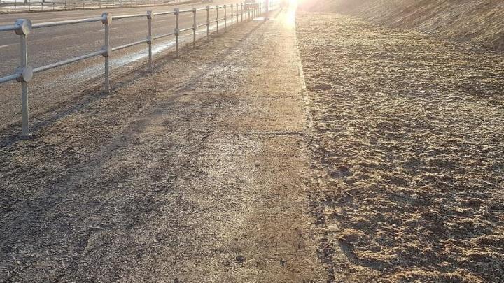Новую велодорожку на Нулевой Продольной Волгограда затопило грязью