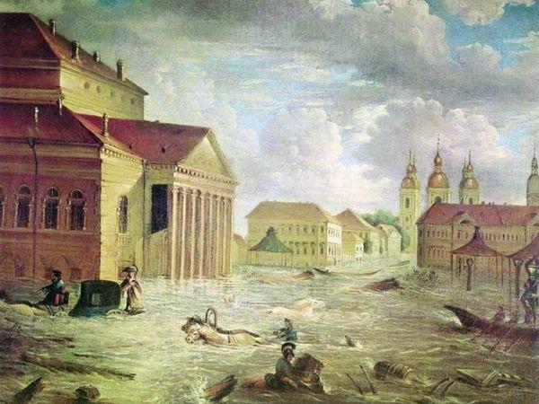 Ф. Алексеев. «7 ноября 1824 года на площади у Большого театра», 1824 г.