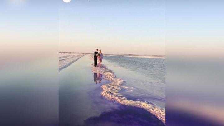 Волгоградские молодожены ради фотосессии раскрасили фиолетовым озеро Баскунчак