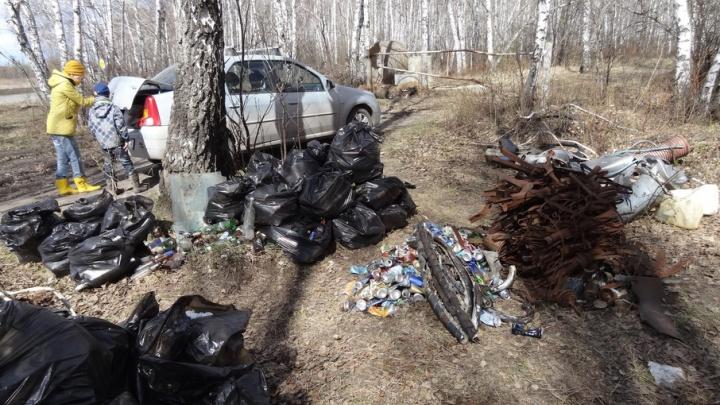 Волонтеры начали уборку в Метелевской роще: из леса вынесли 50 мешков с бутылками и мусором