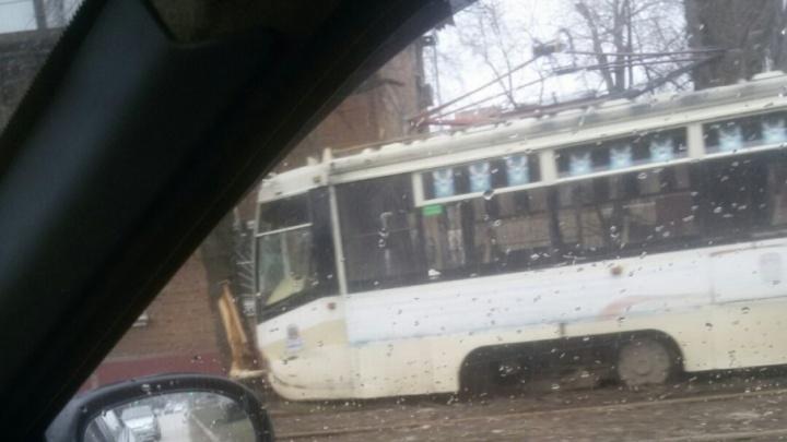 В Ростове трамвай сошел с рельсов и врезался в дерево