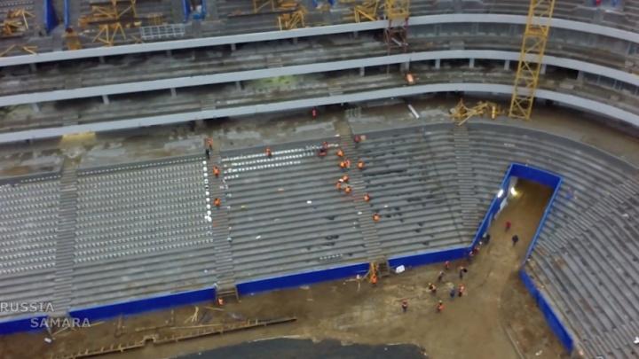 На стадионе «Самара-Арена» возобновили установку кресел