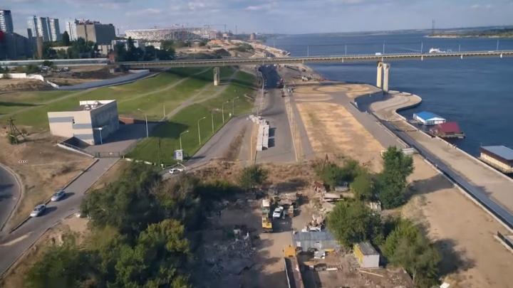 Строительство Нулевой Продольной в Волгограде снова попало в объектив квадрокоптера
