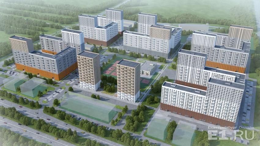 """Так выглядит весь квартал: 5 больших жилых комплексовс большими дворами внутри плюс две """"свечки""""."""