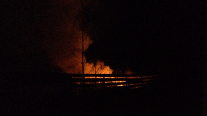 «На место пожарные добирались почти час»: в пригороде Тюмени полностью сгорел дом