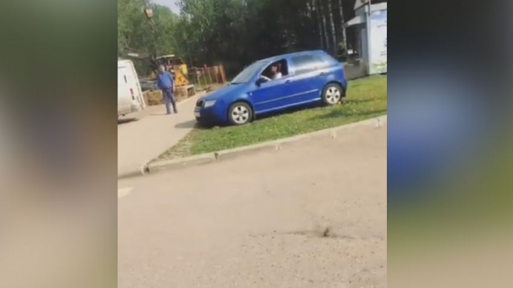 В Брагино женщина-водитель нагло проехалась по газону: видео