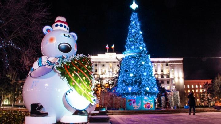 Огни, гирлянды и медведи: фоторепортаж с улиц новогоднего Ростова