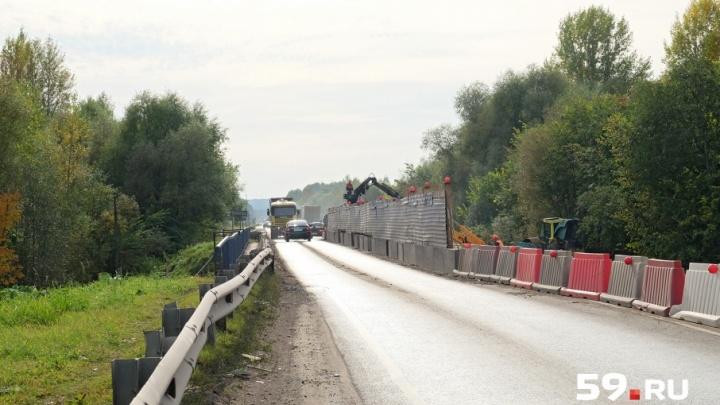 Отстают на два месяца: в Прикамье ремонт моста на федеральной трассе обещают закончить к концу года