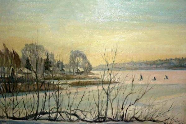 Зима на Дону написана маслом на холсте