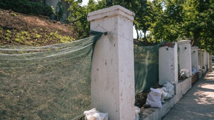 В Струковском саду установили бордюрные камни и автополив