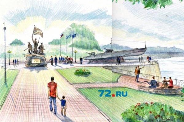 Композиция будет включать в себя не только катер, но и скульптуры трех моряков