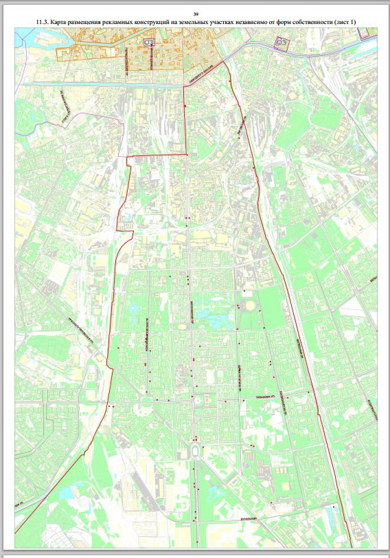 Карта размещения наружной рекламы в Московском районе