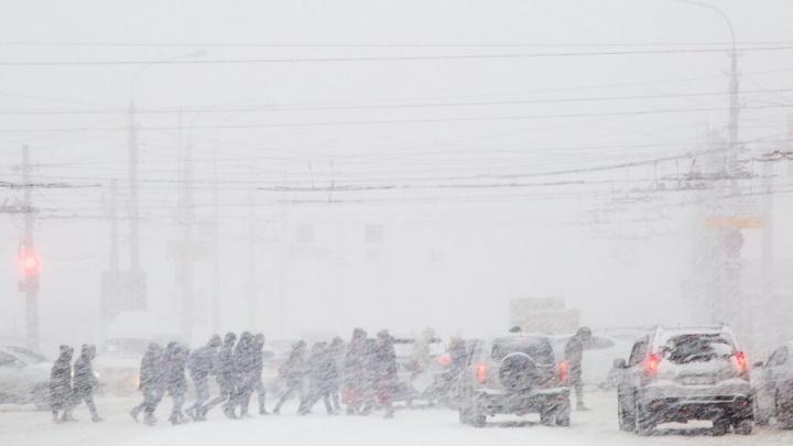 Ночной снегопад парализовал дороги Волгограда