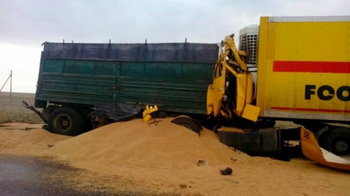 В Астраханской области в аварию попал зерновоз из Волгограда