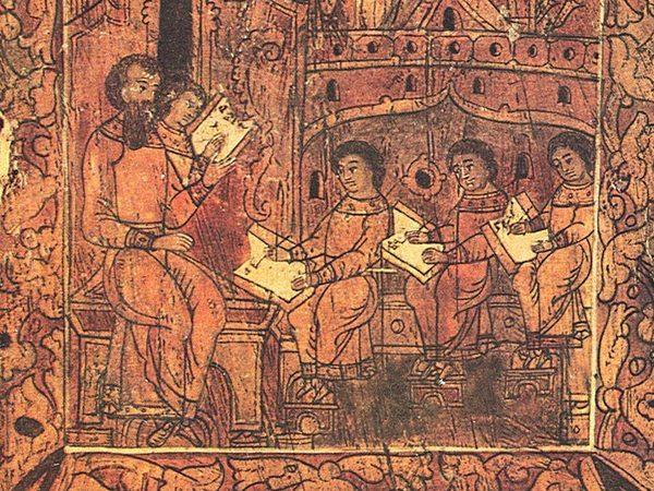 Фрагмент росписи шкафа, 17 век//Древнерусская жизнь в картинках