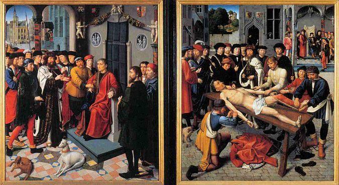Слева — «Арест неправедного судьи Сисамна»; справа — «Казнь неправедного судьи Сисамна»/Герад Давид
