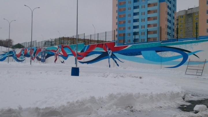 В Новокуйбышевске создали 50-метровые граффити в честь зимних видов спорта