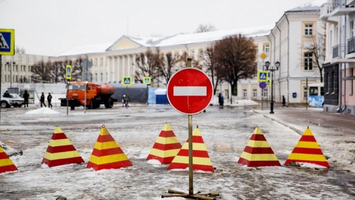 В новогоднюю ночь центр Ярославля перекроют по большому кругу