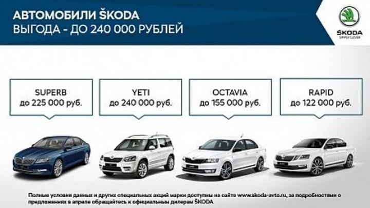 Выгодные предложения для покупателей автомобилей ŠKODA в апреле