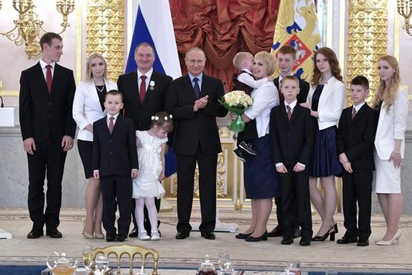 Большая семья Стригалевых приехала на встречу с президентом в полном составе