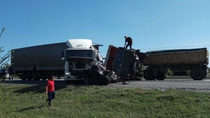 Жуткая авария под Волгоградом: легковушка под большегрузом превратилась в груду металла