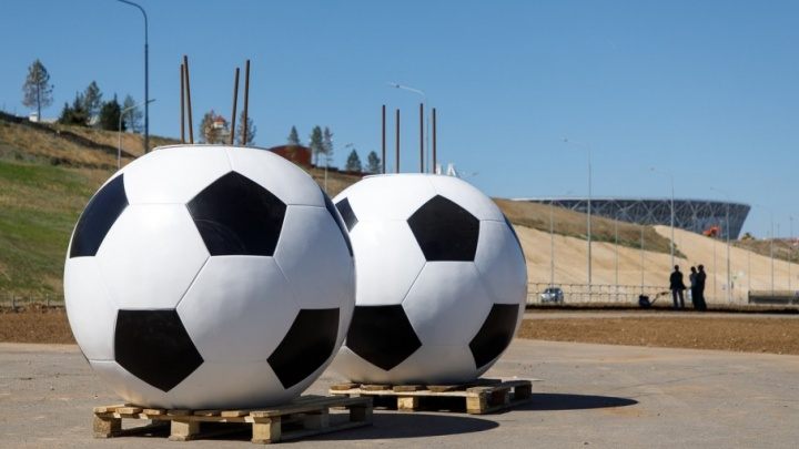 Под «танцующим» мостом в Волгограде появились огромные мячи-кашпо