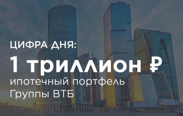 Группа ВТБ увеличила ипотечный портфель до триллиона рублей