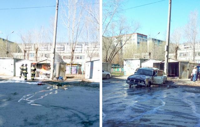 В челябинском дворе выгорел гараж с автомобилем