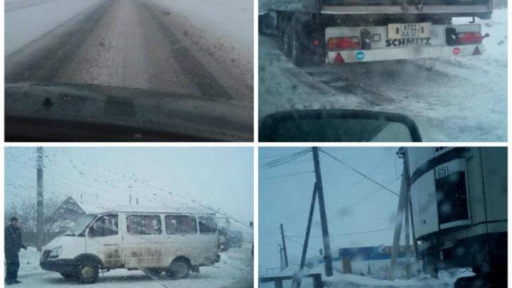 На М-5 в Самарской области из-за метели образовалась пробка в 20 километров