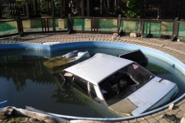 Водитель составил компанию хозяйке в бассейне не выходя из автомобиля
