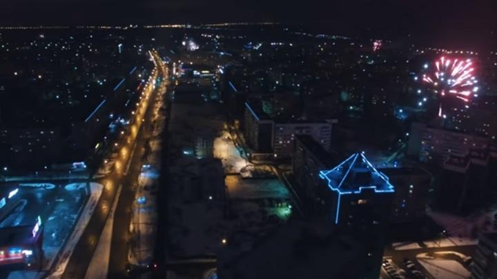 Ярославцы с воздуха сняли новогодний запуск фейерверков