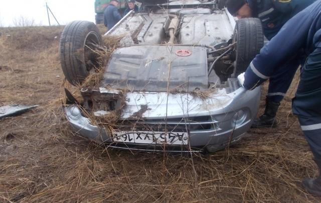 В Ростовской области водитель Lada Granta вылетел с дороги и перевернулся