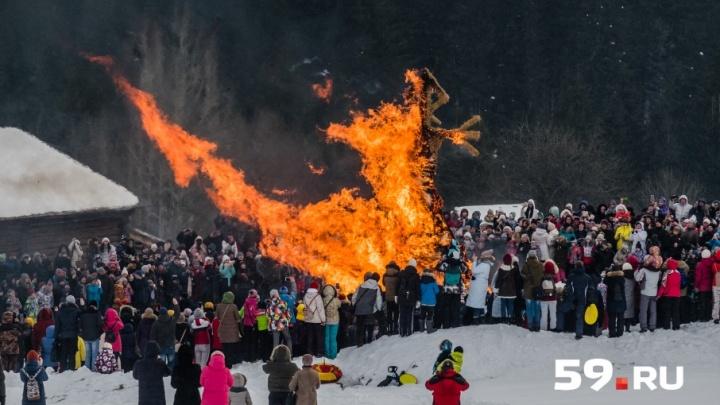 Прощай, зима: 10 лучших фотографий с празднования Масленицы в Прикамье