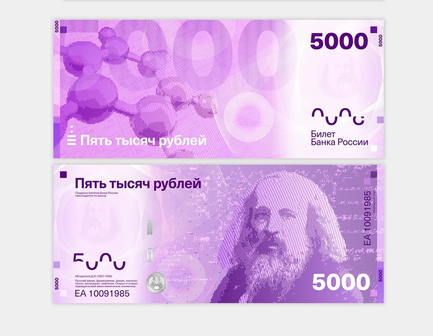 На купюре номиналом 5000 рублей — химик Дмитрий Менделеев