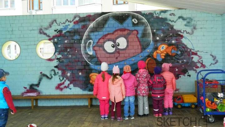 Смешарики, Немо и Русалочка: ярославский садик разрисовали уличные художники