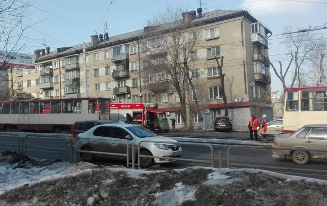 В Челябинске на ходу загорелся трамвай