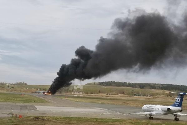 Посетитель аэропорта заснял момент ЧП из окна