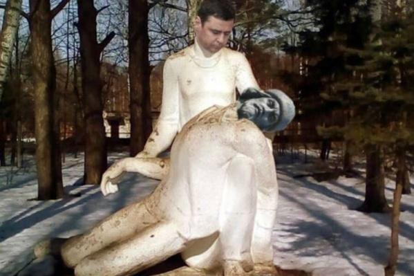 Так юморист Сидор Пустослов обыграл памятник, где женщина держит на руках умирающего солдата