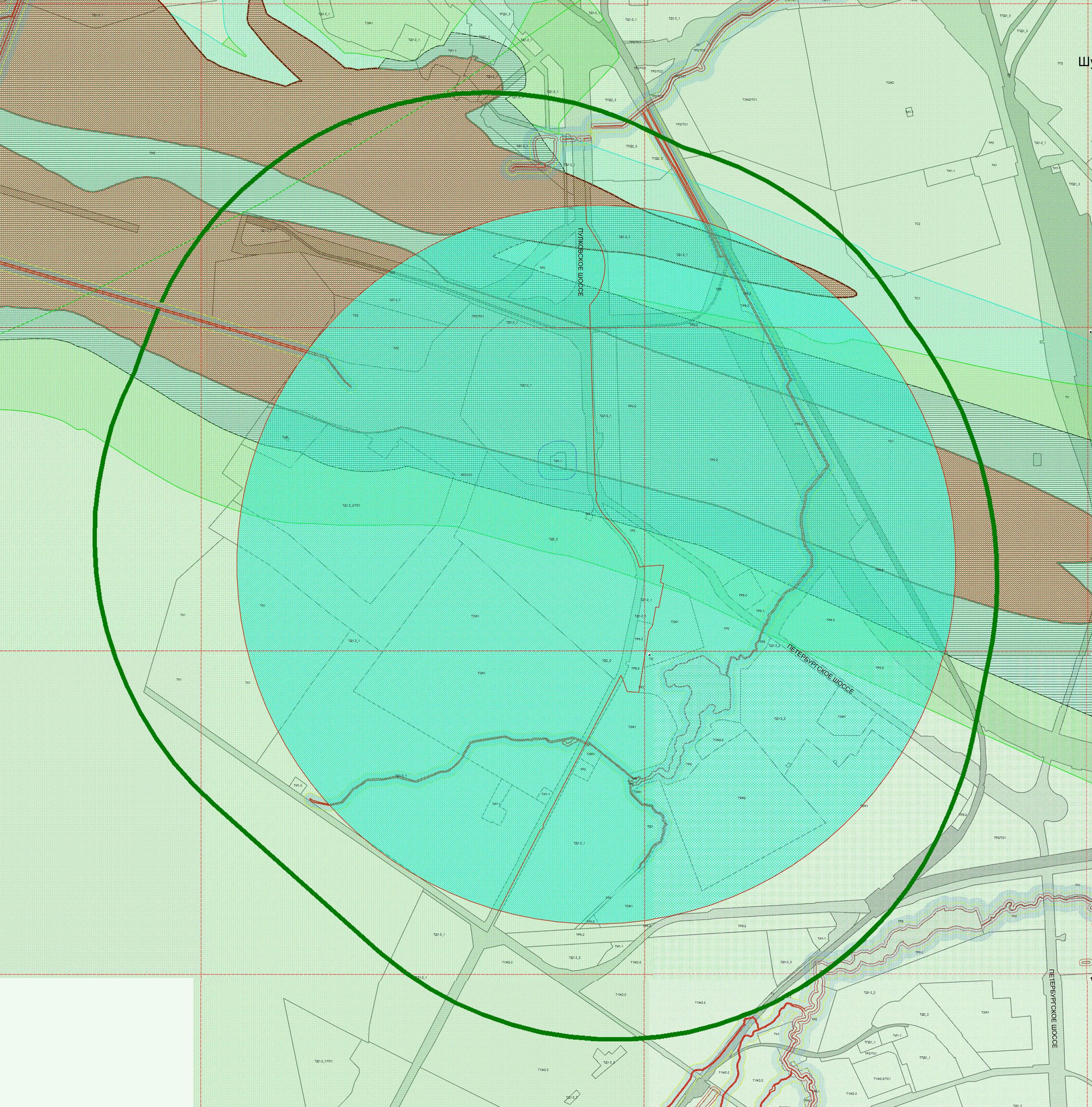 """На этой схеме сопоставлены две границы Защитной парковой зоны ГАО РАН. Зеленая толстая линия - из действующего Генплана, она же соответствует базовому документу - постановлению СНК часть 5Б.  Зеленой """"заливкой"""" отмечена защитная зона, указанная в ПЗЗ."""