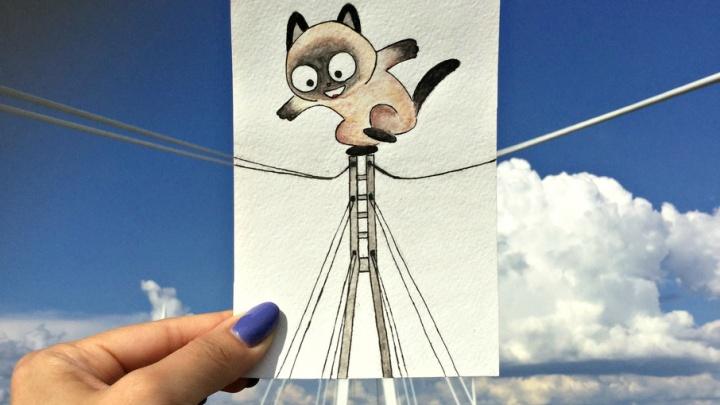 Дополненная реальность: тюменка создаёт иллюстрации с котом Васькой, который путешествует по стране