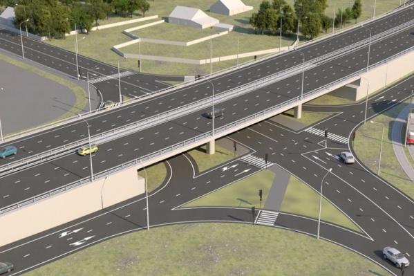 Двухуровневая развязка на пересечении шоссе Космонавтов с улицами Промышленной и Оверятской