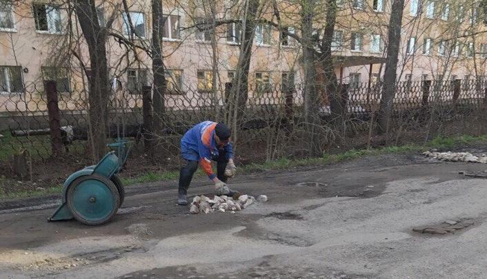 Пенсионер из Ярославской области булыжниками заделал ямы на дороге