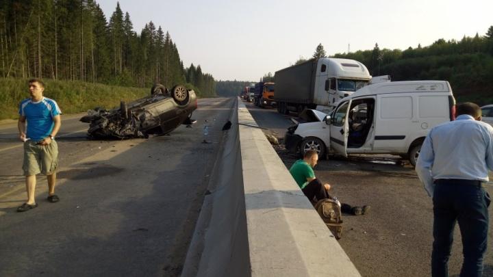Столкнулись пять автомобилей: на Восточном обходе Перми произошло массовое ДТП